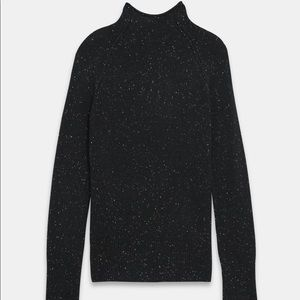 NWT Theory Black Donegal 100% Cashmere Sweater szM